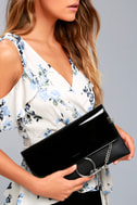 Easy Elegance Black Patent Clutch 3