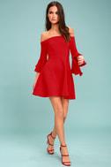 J.O.A. Mikkaa Red Off-the-Shoulder Skater Dress 1