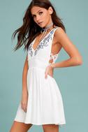 Parkside White Embroidered Skater Dress 2
