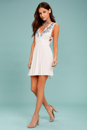 Parkside White Embroidered Skater Dress 1