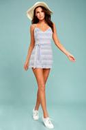 BB Dakota Gianna Blue and White Striped Romper 1
