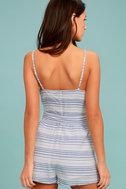 BB Dakota Gianna Blue and White Striped Romper 3