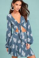 Filled with Wonder Denim Blue Floral Print Crop Top 1