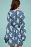 Filled with Wonder Denim Blue Floral Print Crop Top 3