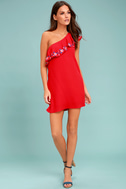 Alpinia Coral Red Embroidered One-Shoulder Dress 2