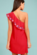 Alpinia Coral Red Embroidered One-Shoulder Dress 3