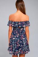 My Favorite Navy Blue Floral Print Off-the-Shoulder Dress 3