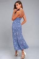 NBD Brielle Denim Blue Lace Midi Dress 2