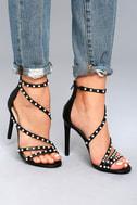 Steve Madden Meg Black Snake Pearl Ankle Strap Heels 4