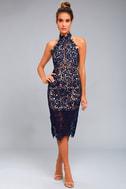 Divine Destiny Navy Blue Lace Midi Dress 1