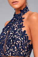 Divine Destiny Navy Blue Lace Midi Dress 4