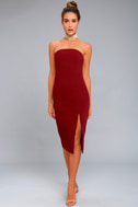 Finders Keepers Lucie Wine Red Midi Dress 1