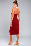 Finders Keepers Lucie Wine Red Midi Dress 3
