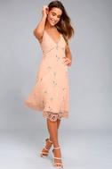 BB Dakota Haleigh Peach Embroidered Midi Dress 1