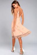 BB Dakota Haleigh Peach Embroidered Midi Dress 2