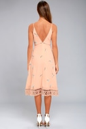 BB Dakota Haleigh Peach Embroidered Midi Dress 3