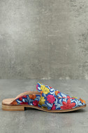 Free People Brocade At Ease Blue Combo Embroidered Loafer Slides 2