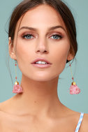 Charismatic Way Gold and Mauve Tassel Earrings 2