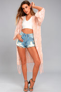 Peony Patch Light Peach Embroidered Kimono Top 1