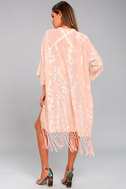 Peony Patch Light Peach Embroidered Kimono Top 3