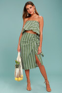 Faithfull the Brand Suns Out Olive Green Striped Strapless Top 2