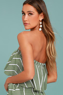 Faithfull the Brand Suns Out Olive Green Striped Strapless Top 3