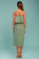 Faithfull the Brand Suns Out Olive Green Striped Strapless Top 4
