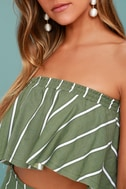 Faithfull the Brand Suns Out Olive Green Striped Strapless Top 5