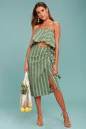 Faithfull the Brand Carlo Sage Green Striped Midi Skirt 1