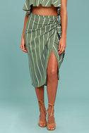 Faithfull the Brand Carlo Sage Green Striped Midi Skirt 2