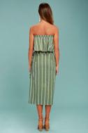 Faithfull the Brand Carlo Sage Green Striped Midi Skirt 3