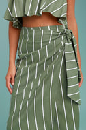 Faithfull the Brand Carlo Sage Green Striped Midi Skirt 4