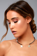 Trip to the Stars Gold and Gunmetal Collar Necklace 1
