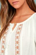 Puebla Orange and White Embroidered Top 4