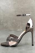 Aerilyn Pewter Ankle Strap Heels 1