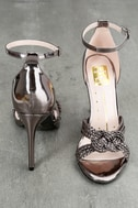 Aerilyn Pewter Ankle Strap Heels 3