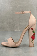 Adela Nude Suede Embroidered Ankle Strap Heels 1
