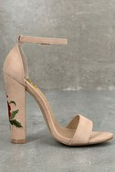 Adela Nude Suede Embroidered Ankle Strap Heels 2
