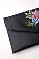 Favorite Foliage Black Embroidered Clutch 2