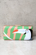 You Can Toucan Blush and Green Print Clutch 1