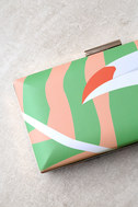 You Can Toucan Blush and Green Print Clutch 2