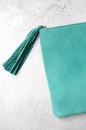 Sunswept Turquoise Suede Leather Clutch 2