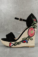 Nell Black Suede Embroidered Espadrille Wedges 1