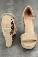 Nell Natural Suede Embroidered Espadrille Wedges 3