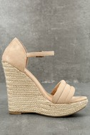 Nell Natural Suede Embroidered Espadrille Wedges 2