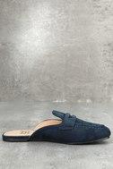 Scarlet Navy Suede Loafer Slide 2