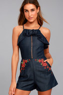 Moon River Roseanne Dark Blue Chambray Embroidered Romper 1