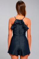 Moon River Roseanne Dark Blue Chambray Embroidered Romper 3