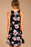 Walk This Sway Black Floral Print Swing Dress 3