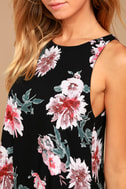 Walk This Sway Black Floral Print Swing Dress 4